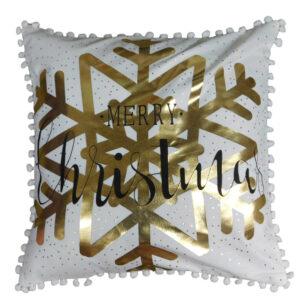 Christmas Cushion GOLD MERRY CHRISTMAS Filled 45x45cm inc Insert New