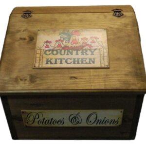 French Country Handmade Wooden Benchtop Potato Onion Bin New