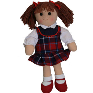 Lovely Soft Rag Doll CHARLOTTE in a Tartan Dress 35cm New