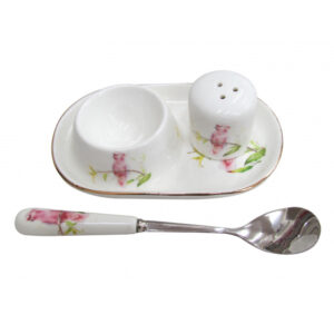 French Country Lovely Egg Cup with Spoon and Salt COCKATOO New
