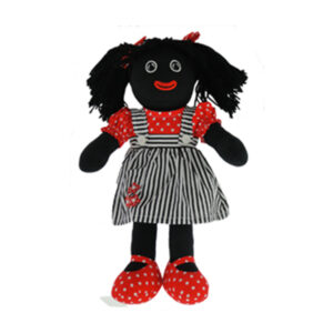 Lovely Soft Rag Doll GRETEL Black and White Pinafore Dress 35cm New