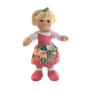 Lovely Soft Rag Doll HANNAH Pink Dress Girl Doll Medium 25cm New
