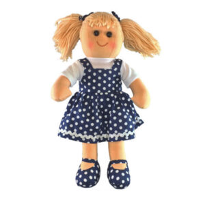 Lovely Soft Rag Doll HARRIET Navy Spotted Dress 35cm New