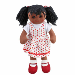 Lovely Soft Rag Doll JESSICA Red Spots Dress Girl Doll 35cm New
