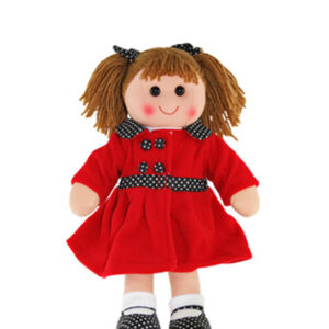 Lovely Soft Rag Doll SCARLETT Red Coat Girl Doll 35cm New