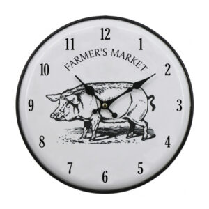 Clocks French Country Vintage Wall Hanging 29cm ENAMEL PIG New