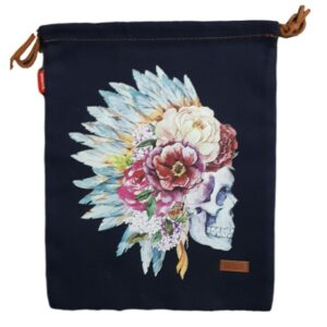 Denim and Co Tote or Library Bag with HTV Boho Indian Skull on Front
