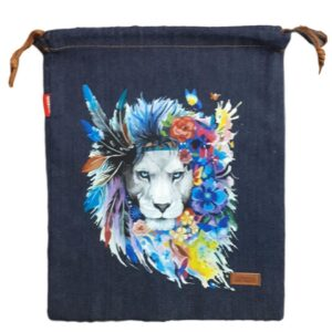 Denim and Co Tote or Library Bag with HTV Boho Lion King on Front