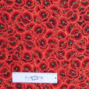 Quilting Patchwork Sewing Fabric METALLIC RED POPPYS 50x55cm FQ New Material