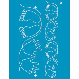Quilting Full Line Stencil BABY HANDS FEET Reusable A3 use with Pounce