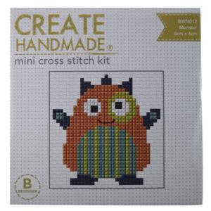 Create Handmade Cross Stitch Kit Beginner MONSTER 6x6cm New
