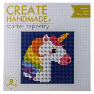 Create Handmade Tapestry Kit Beginner UNICORN 10x10cm New