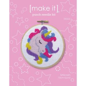 MAKE IT Punch Needle Kit Kids Beginner UNICORN 10cm Including Hoop New