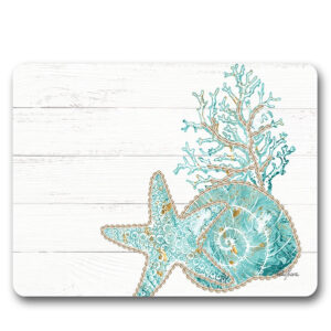 Kitchen Cork Backed Placemats AND Coasters REEF CORAL Set 6 New