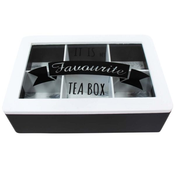 French Country Tea Bag Box MY FAVOURITES WHITE and BLACK Wood Teabag Holder New