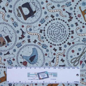 Quilting Patchwork Sewing Fabric Lynette Anderson ONE STITCH BLUE 50x55cm FQ New