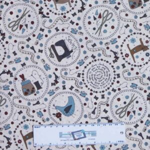 Quilting Patchwork Sewing Fabric Lynette Anderson ONE STITCH CREAM 50x55cm FQ New