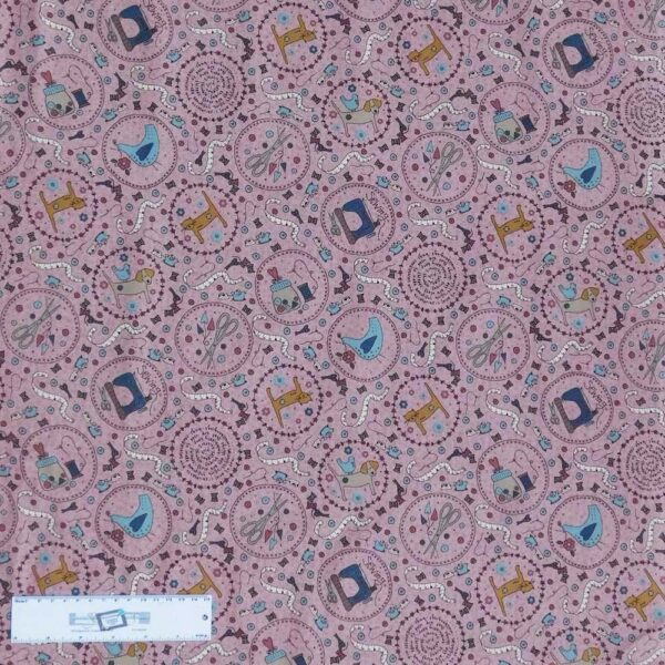Quilting Patchwork Sewing Fabric Lynette Anderson ONE STITCH PINK 50x55cm FQ New