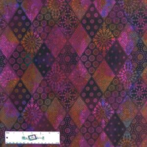 Quilting Patchwork Sewing Fabric JASON YENTER SEASONS DIAMONDS MULTI 50x55cm FQ New