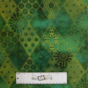 Quilting Patchwork Sewing Fabric JASON YENTER SEASONS DIAMONDS GREEN 50x55cm FQ New