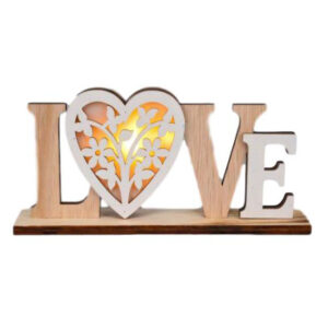 Wooden Sign French Country LOVE LED Table Top Plaque Carved Timber