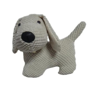 French Country Vintage Weighted CREAM FABRIC DOG STANDING Door Stopper