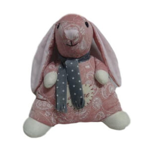 French Country Vintage Weighted PINK BUNNY RABBIT STANDING Door Stopper