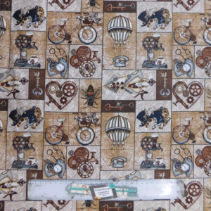 Quilting Patchwork Sewing Fabric STEAMPUNK VOYAGE 50x55cm FQ New