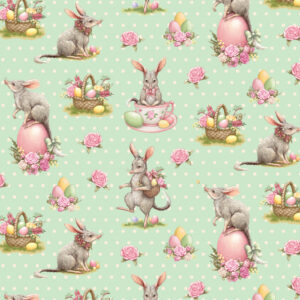 Quilting Patchwork Sewing Fabric EASTER BILBY BLUE 50x55cm FQ New