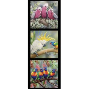Patchwork Quilting Sewing Fabric Galah Cockatoo Lorikeets Panel 40x110cm