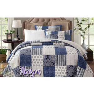 French Country Patchwork Bed Quilt HORIZON KING incl 2 Pillowcases Coverlet