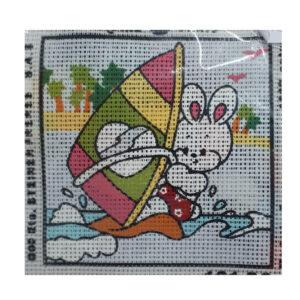 Handmade Tapestry Kit Beginner SAILING BUNNY 11.5x11.5cm