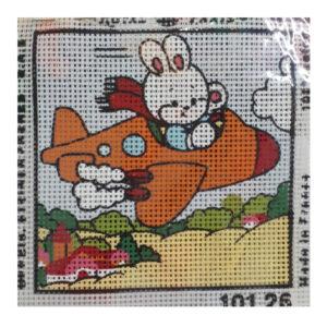 Handmade Tapestry Kit Beginner BUNNY PLANE 11.5x11.5cm