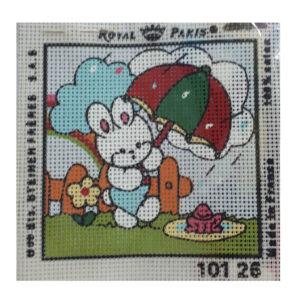 Handmade Tapestry Kit Beginner RAINING BUNNY 11.5x11.5cm