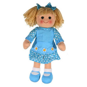 Hopscotch Lovely Soft Rag Doll AGNES Blue Dress Doll Large 35cm