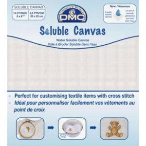 Cross Stitch Aida Cloth 14 Count DMC SOLUBLE CANVAS Size 20x22cm Fabric