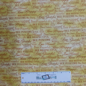 Patchwork Quilting Sewing Fabric HONEY BEE WORDS 50x55cm FQ New Material