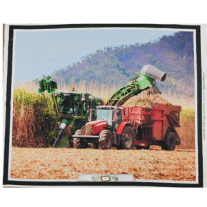 Patchwork Quilting Sewing Fabric SUGAR CANE HARVESTER Panel 90x110cm New