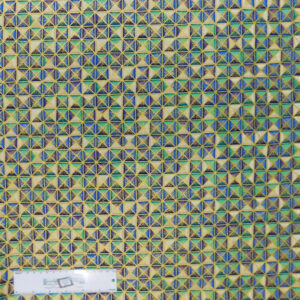 Quilting Patchwork Fabric BLUE GREEN GEOMETRICAL METALLIC 50x55cm FQ New Material