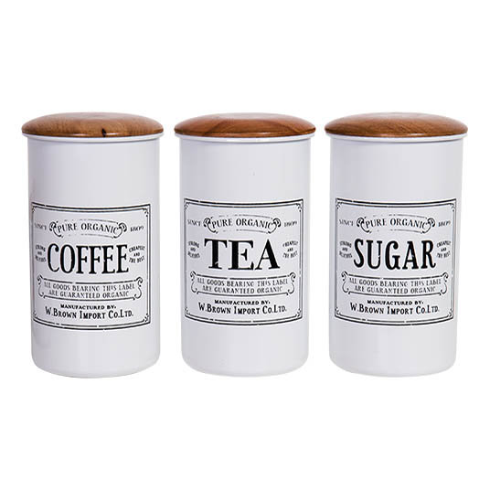 French Country Metal Enamel Retro Kitchen Canisters WHITE TALL Set of 3