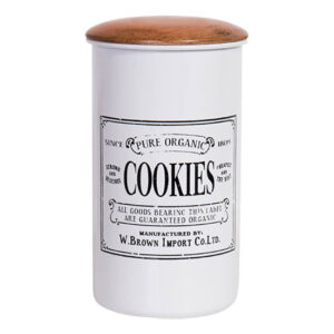 Famhouse Metal Enamel Retro Kitchen Canister COOKIES Biscuit Tin