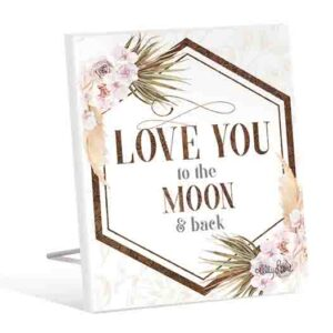 French Country Wooden Sign Bismark LOVE YOU TO MOON Plaque