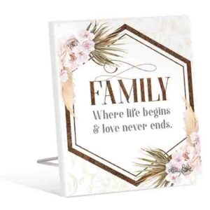 French Country Wooden Sign Bismark FAMILY LIFE BEGINS Plaque
