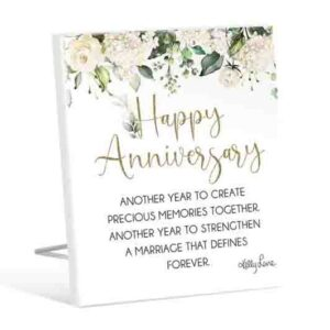 French Country Wooden Sign Occasions HAPPY ANNIVERSARY Plaque