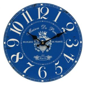Clock Country Vintage Inspired Wall FRENCH BLUE Clock 34cm