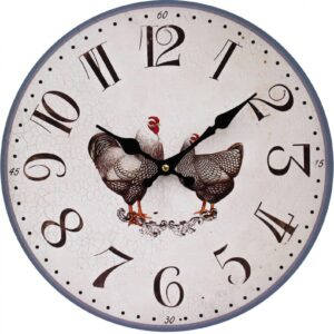 Clock Country Vintage Inspired Wall HENS CHICKENS 34cm