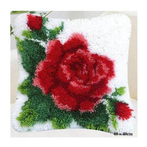 Crafting Kit Latch Hook with Canvas Hook and Threads FLORAL ROSE