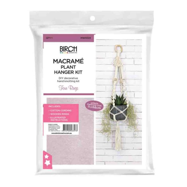 Creative Macrame Kit PLANT HANGER 4 RINGS Make your Own