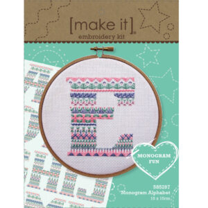 Make It Cross Stitch MONOGRAM ALPHABET Including all A-Z Letters and Threads