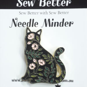 Sew Better Cross Stitch Needle Minder Keeper FLORAL CAT